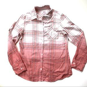 Justice Girl's Button Down Plaid  Shirt